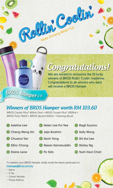 BROS Events- BROS Rollin' Coolin' Winner Announcement